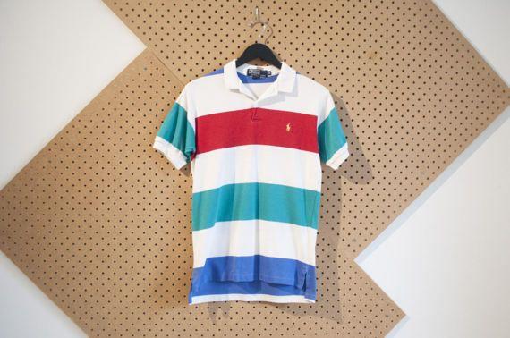 vintage ralph lauren striped polo shirt mens 80s polo retro