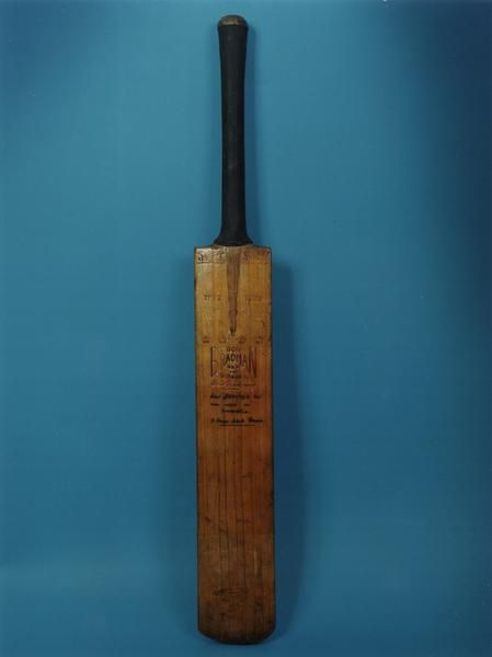 First Don Bradman bat ever made. Used by Don Bradman in making a record score for the St George District Club, 187, Sydney 1929-30.