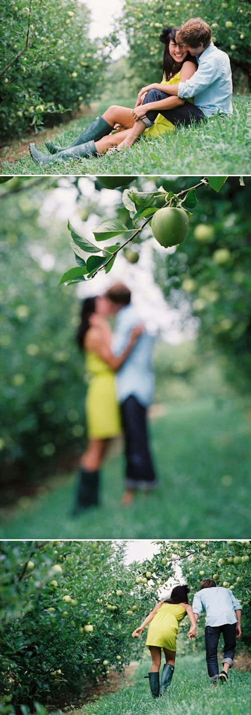 Adorable and playful couple enjoy a beautiful day at an apple orchard, photography by Jen Fariello