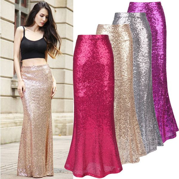 Golden Sequined Maxi Fishtail Skirt ($41) ❤ liked on Polyvore featuring skirts, pink maxi skirt, fish tail skirt, pink sequin skirt, long sequin maxi skirt and long sequin skirt