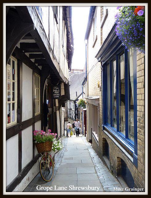Medieval houses in Grope Lane Shrewsbury Shropshire. UK. by mike 42, via Flickr