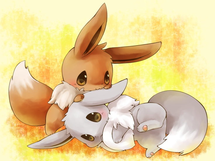 Eevee and shiny Eevee. Why so they have to be so adorable?! If Pokemon were real I'd so have to adopt them all haha