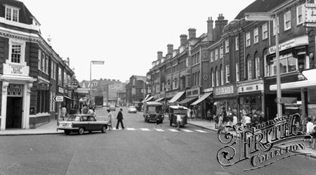 Station Road c1965, Harrow On The Hill.  Lloyds Bank (on the left of the picture, on the corner of St John's Road) is still there (2015).