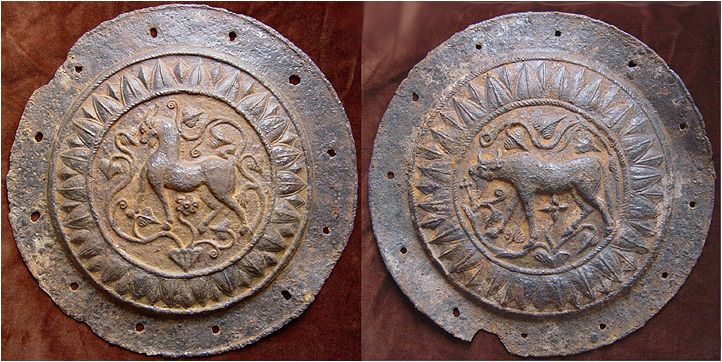 Pair or iron shield facings, probably late Macedonian or Dacian, ca. 3rd-1st century BC. Each has a diameter of 35 cm and a thickness of 3-5 mm.