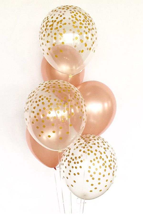 Rose Gold and Clear Gold Confetti Latex Balloons - First Birthday - Wedding - Bridal Shower - Birthday - Rose Gold Balloons - Gold Confetti Look Balloon #weddings #bridalshowers #weddingreception #weddingdecor #weddingdresses