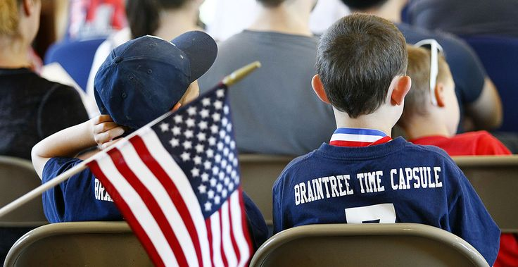 """Members of the Braintree Little League """"Time Capsule"""" team.   Braintree Time Capsule Cairn Monument Inspection Ceremony at town hall on Tuesday July4, 2017 Greg Derr/The Patriot Ledger"""
