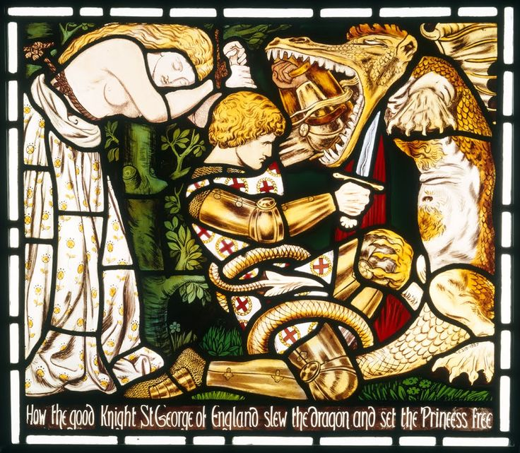 Stained glass panel designed by Dante Gabriel Rossetti  and made by Morris Marshall Faulkner & Co, UK, about 1862.  Inscription: 'How the good knight St George of England  slew the dragon and set the princess free'  V&A