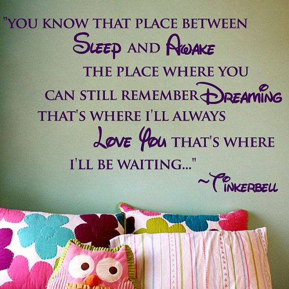 tinkerbell: Disney Quotes, Tinker Belle, Hooks, Wall Quotes, Little Girls Rooms, Places, Tinkerbell, Kids Rooms, Peter Pan