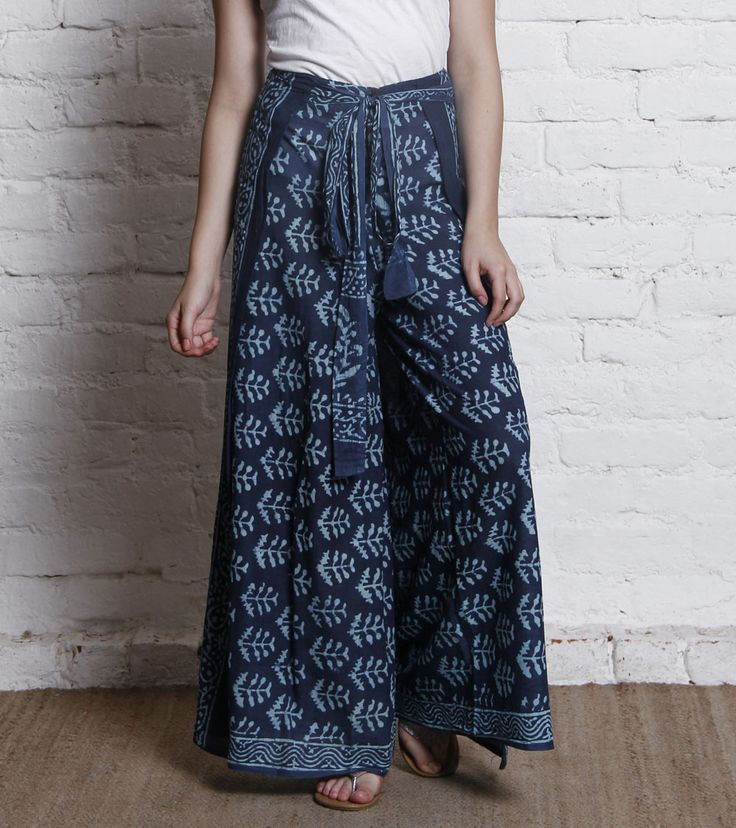 Indigo Hand Block Printed Cotton Pants 9/30, sold out, hope they get more soon.