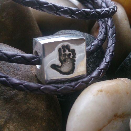 Handprint or footprint Square Bead (fits pandora)