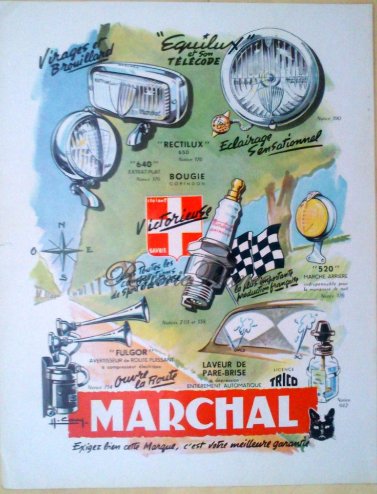 Vintage French Ad - Marchal Auto Supplies 1954 by reveriefrance on Etsy