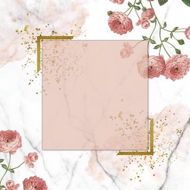الأزهار الوردية على الرخام زهري ذهبي الأزهار خمر Png وملف Psd للتحميل مجانا Ilustracao Rosa Moldura Floral Flores Pintadas