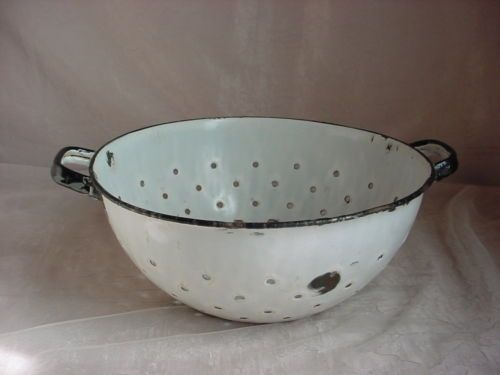 Vintage Enamel Colander Strainer with Handles White and Black Country Rustic
