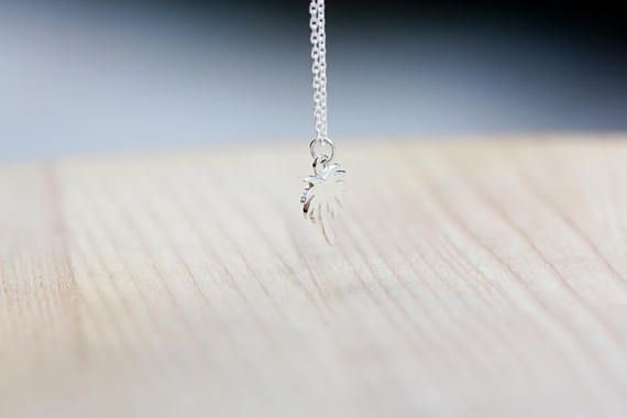 Sterling Silver Palm Tree Necklace / Dainty Charm Necklace /