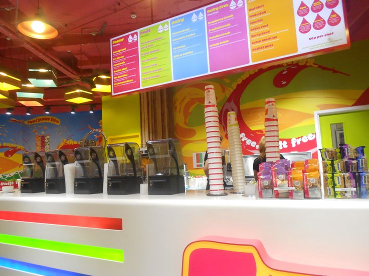 Retail Design - Use of bright, vivid colours associated with the brand in Fuel Juice Bar