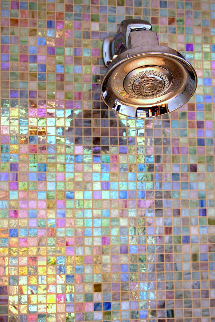 Iridescent bathroom tiles. YES!