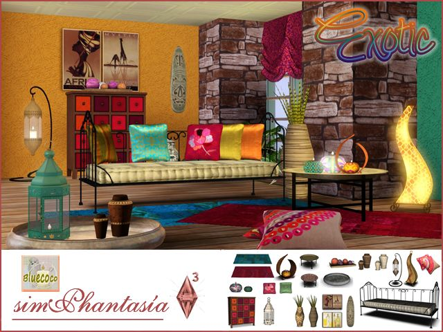 My Sims 3 Blog Exotic Living Room Set By Bluecoco