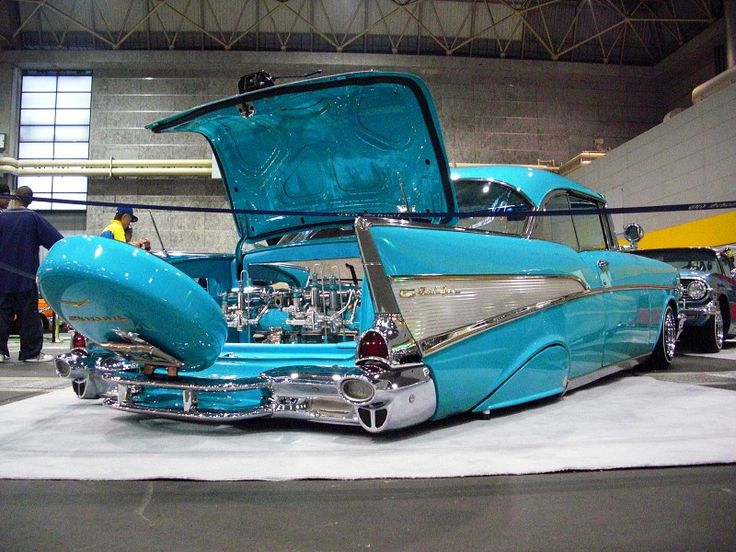 "1957 Chevrolet | Script Reads Fuel Injection where Bel Air Logo goes| Trunk/Spare, area has V Like Belairs have.. ""Dr.'d UP ??""  210 Did have A Sport Option Coupe ... Could it be ?? Rare if so !!!"