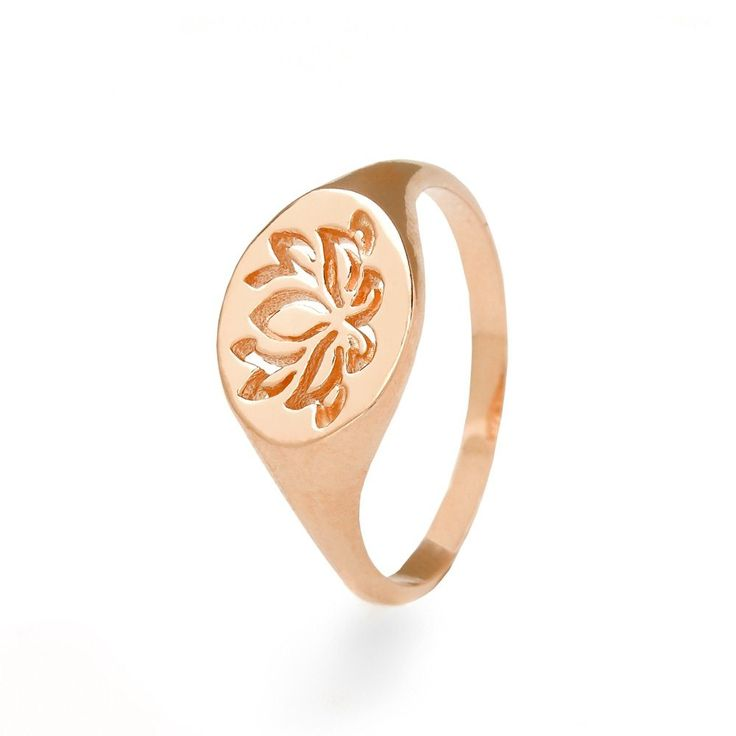 John Greed Lotus Rose Gold Plated Sterling Silver Signet Ring | John Greed Jewellery