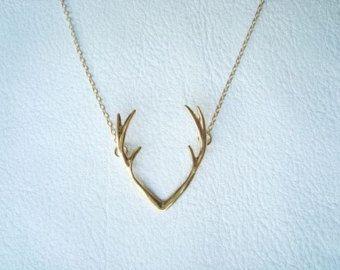 Deer Antler Necklace Silver Deer Antler by ChillsJewellery