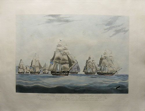 The Honourable East India Company Ship Inglis, Commanded by Joseph Dudman Esq. Leaving St. Helena, in July 1830, in Company with H.M Frigate Ariadne, and the ships Windsor, Waterloo, Scaleby Castle, G by Edward Duncan after William John Huggins