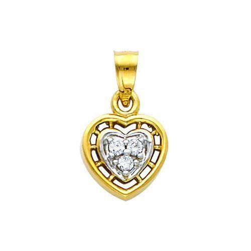 14K Yellow Gold CZ Heart Charm Pendant GoldenMine. $87.00