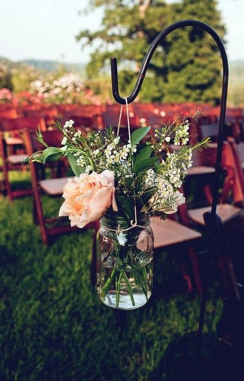 August Wedding Front Porch Farms Wedding, Mason Jars And Shepherds Hooks  For Summer Wedding, August Wedding Ceremony Details