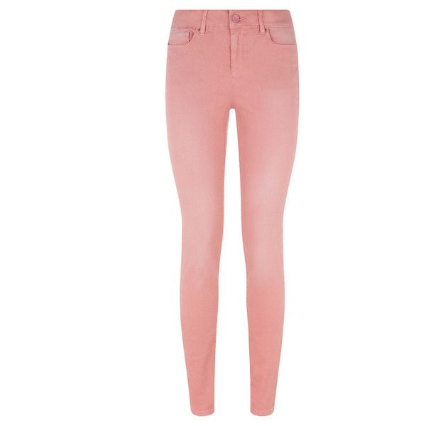 Saltspin - Silicon Pink Skinny Jeans ($81) ❤ liked on Polyvore featuring jeans, pants, bottoms, calças, aria coleman, red stretch skinny jeans, skinny leg jeans, stretchy jeans, antique-rivet jeans and stretch jeans