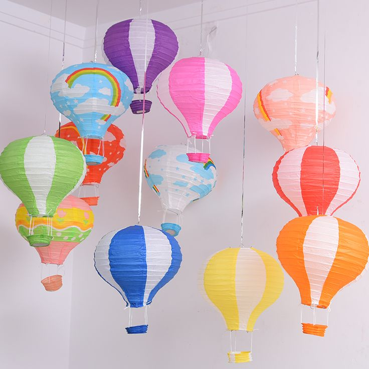 12inch Rainbow Hot Air Balloon Paper Lantern Fire Sky Lantern for Wedding/Birthday Party/Christmas Decoration