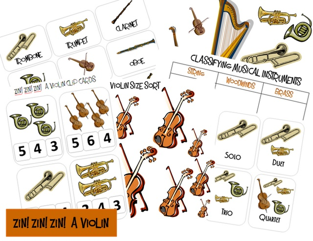 Free Zin! Zin! Zin! A Violin {Printable Book Pack}  Musical Classification,  Musical Ensemble,  Violin Size Sort,  Vocabulary Cards, Number Clip Cards