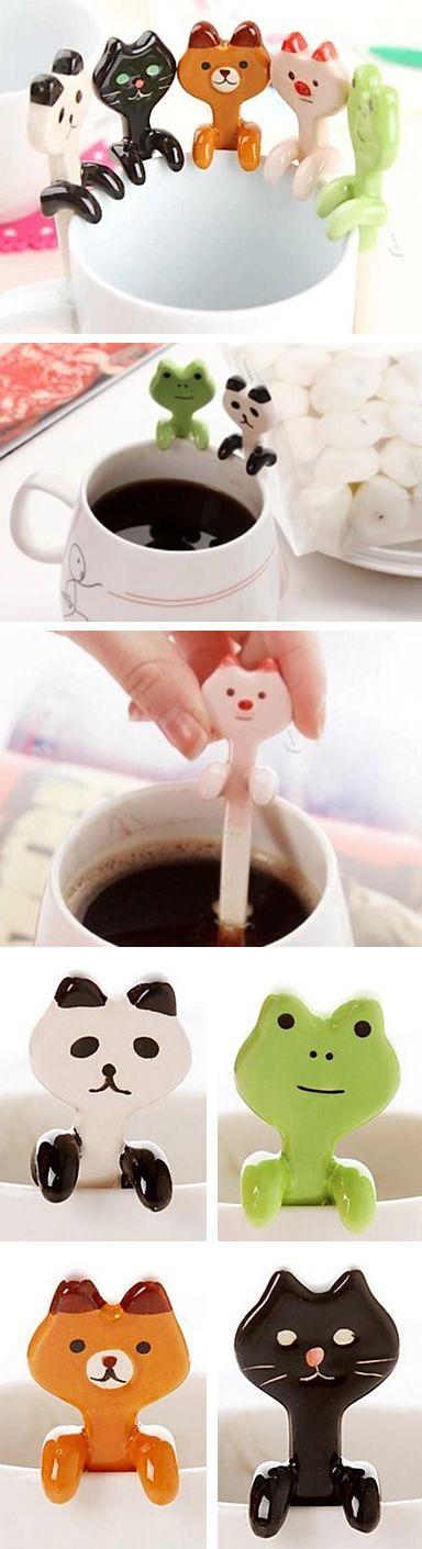 Ceramic animal hanging spoons // so cute! #product_design