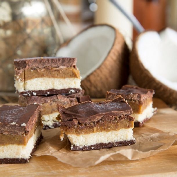 ingredients (makes 16 slices): nutty base ½ cup almond meal ½ cup walnuts 3 tbsp coconut nectar syrup or rice malt syrup ¼ cup raw cacao powder crunch layer 1 cup almond meal ½ cup coconut flour ½ cup desiccated…