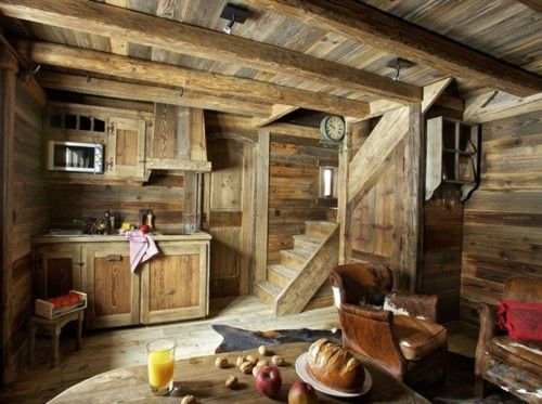 Tiny Kitchen And Living Area In The Reclaimed Wood House