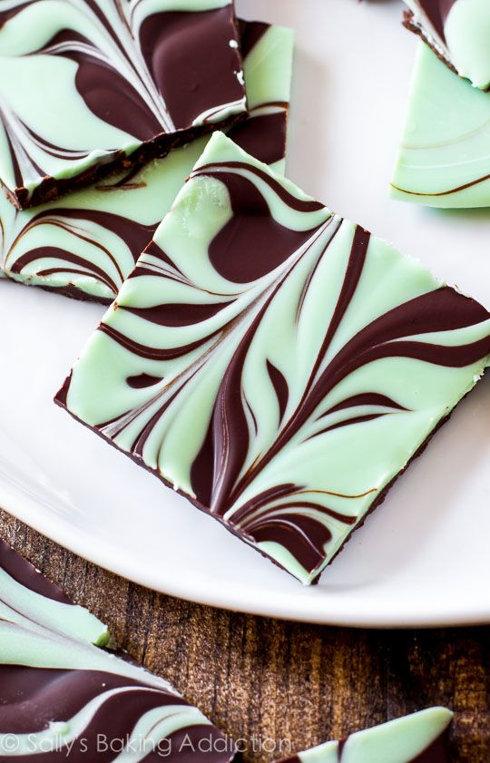 This Mint Chocolate Swirl Bark is laughably easy! Tastes like one big Andes mint.