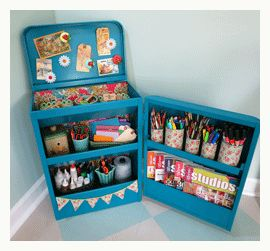 art studio organization vintage shelving= goo for me our as a little arts station for the kiddos :)