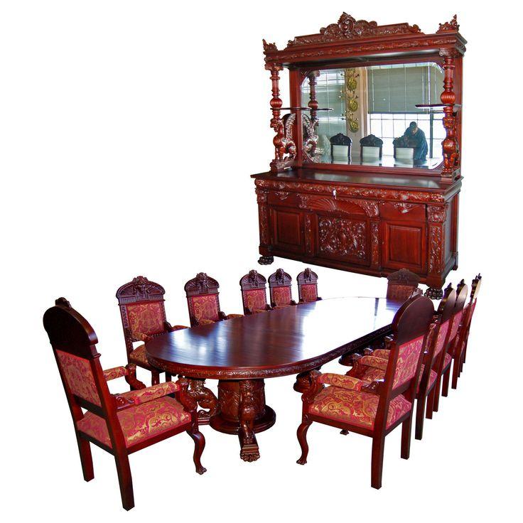 7203 R J Horner 15 PC Winged Griffin Carved Mahogany Dining Room Set