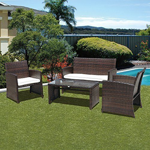 Outdoor Patio 4Pcs Rattan Furniture Wicker Set Chairs Couch Table Garden Pool #Kbrand