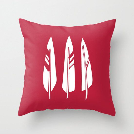 Red Feather Pillow Cover feathers pillow rustic by RiverOakStudio