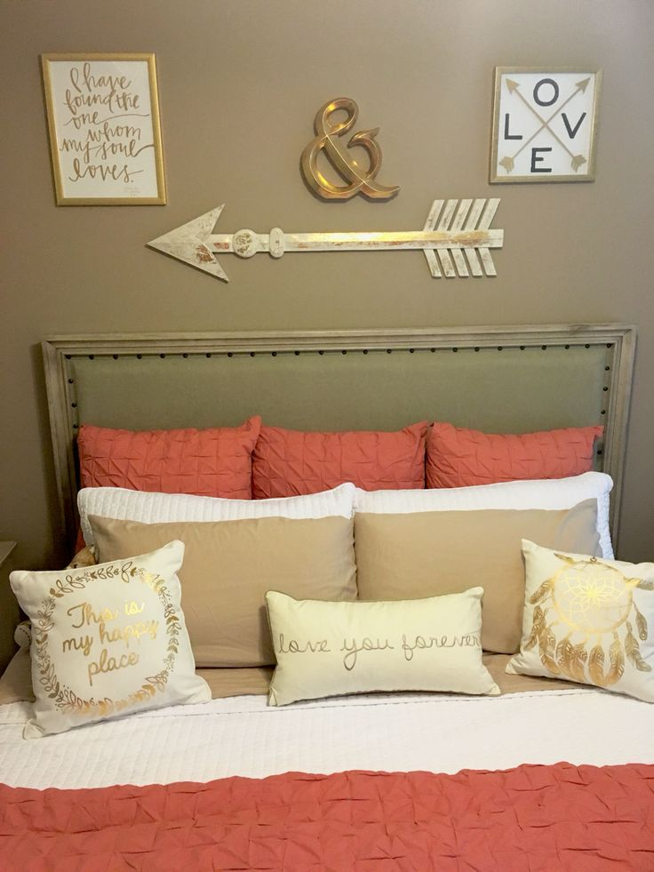 Coral, Taupe, and white Bedroom with gold accents