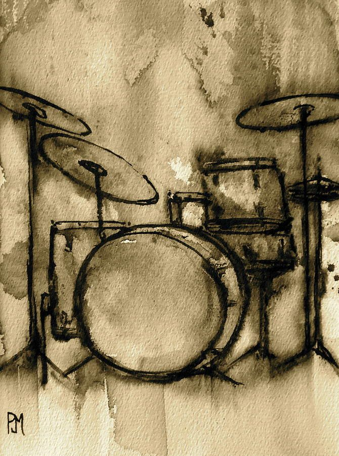 Vintage Drums Painting by Pete Maier