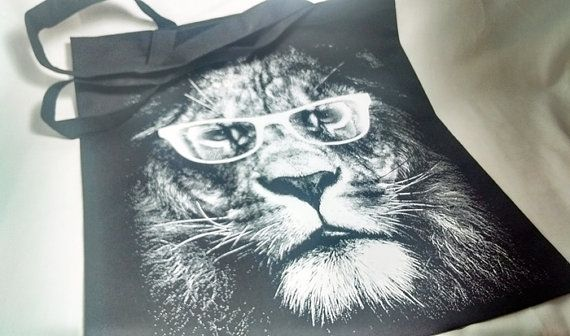 Lion With Glasses Black Cotton Canvas Tote Bag  by FrancisRoyal