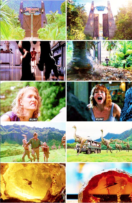 Jurassic Park (1993) and Jurassic World (2015) #jw