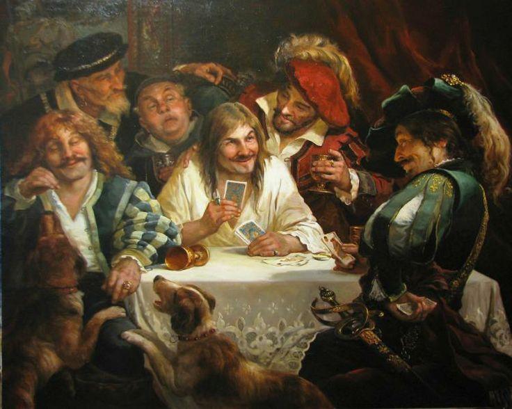 Players - Andrei Shishkin(1960-), Russian Painter