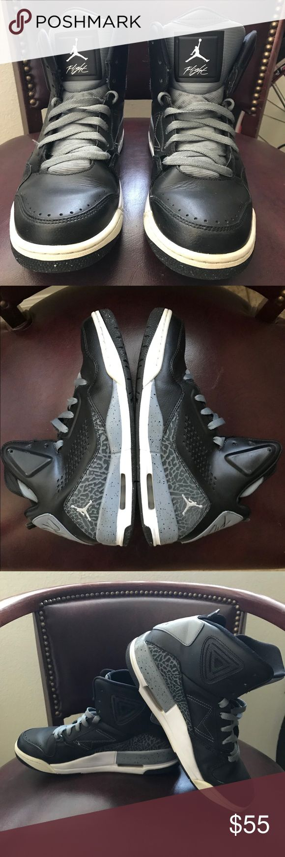 Nike Air Jordan flight black and grey🔥 Nike Air Jordan Flight 2014 shoes DS, black and grey gently worn. Size 8 men 9.5 women. Any questions ask.  Thanks Nike Shoes Sneakers