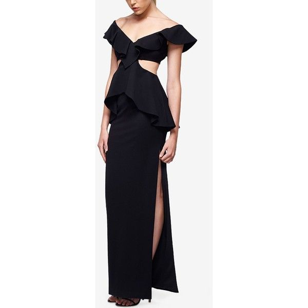 Fame and Partners Ruffled Cut-Out V-Neck Dress ($299) ❤ liked on Polyvore featuring dresses, black, side slit dress, cutout dresses, frilly dresses, v neck dress and ruffled dresses
