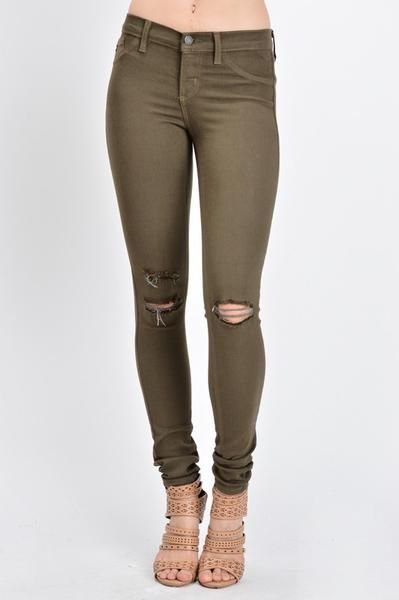 Distressed Skinnies in the color OLIVE Perfect Colored Skinny Jeggings Brand is…