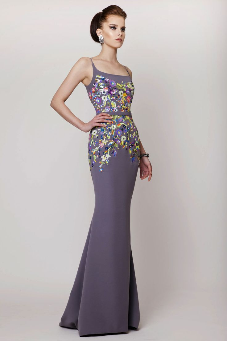 Azzi & Osta Couture SS 2015, Gray Long Silk Crepe Dress with Hand Sequined Multicolored Florals