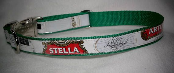 Adjustable  Dog Collar from Recycled Stella Beer Labels