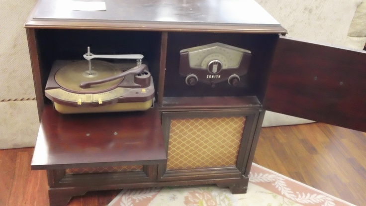 antique record player console