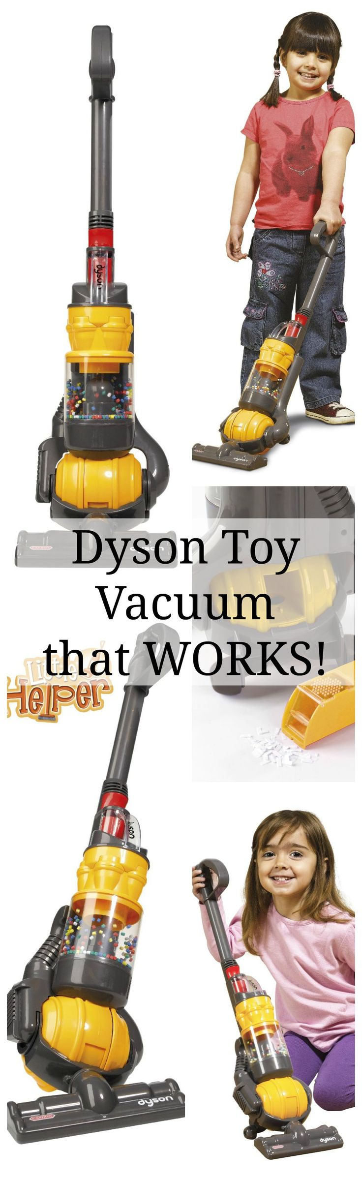 Dyson Toy Vacuum Cleaner. Is your little helper always reaching for the big heavy vacuum? This is the answer you've been looking for! A toy Dyson Vacuum that works! Your little helper will be helping when they reach for their toy vacuum cleaner!